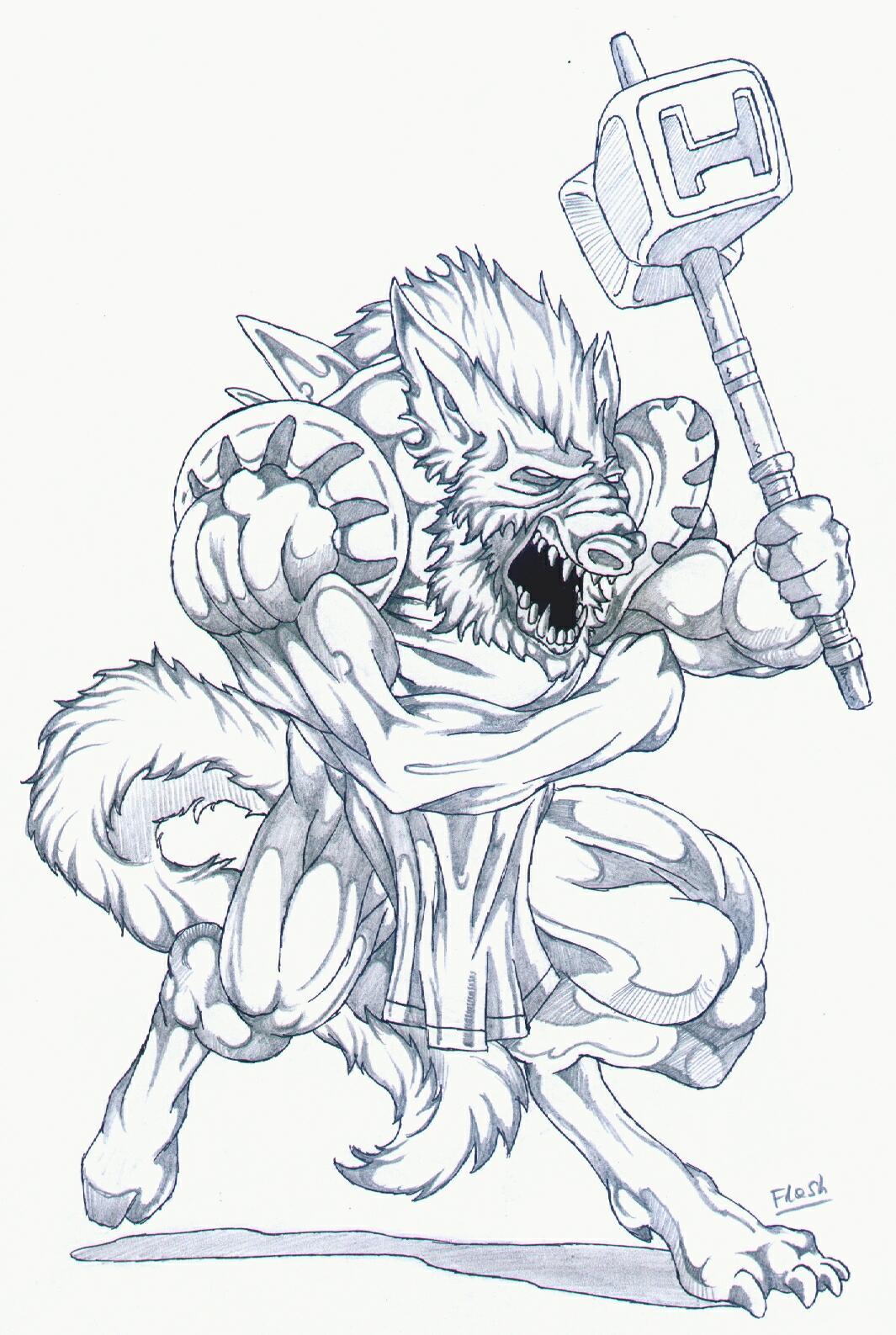 Attacking Werewolf - Flash